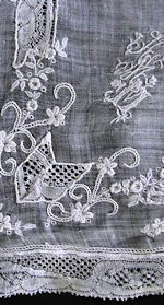vintage antique wedding brides hanky binche lace whitework