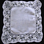 vintage antique wedding brides hanky handmade Cluny lace