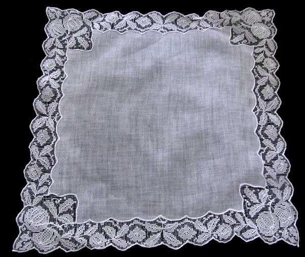 vintage antique wedding brides hanky handmade lace
