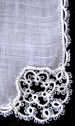 vintage antique wedding brides hanky with handmade lace