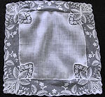 vintage antique wedding hanky Limerick and Schiffli lace
