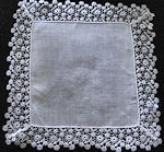 vintage antique wedding brides hanky Irish linen with lace