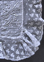 vintage antique wedding brides hanky French lace Madeira whitework