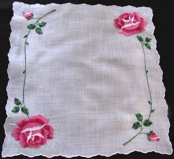 vintage hanky embroidered roses
