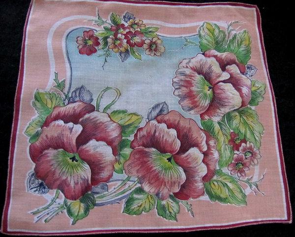 vintage floral print hanky with pansies