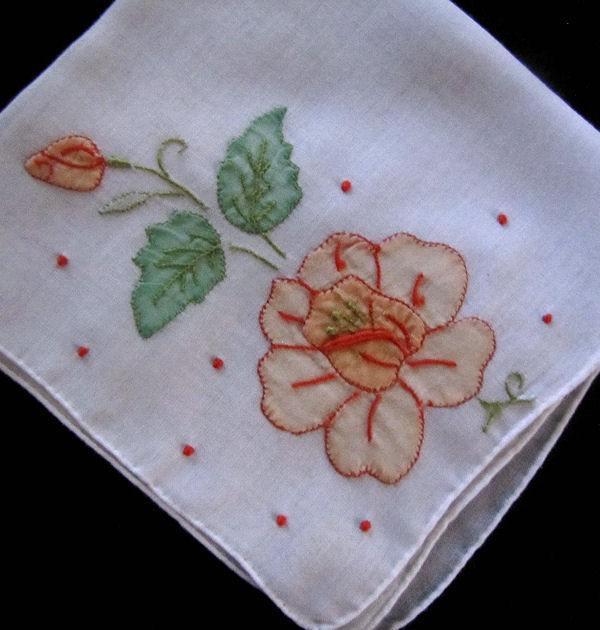 vintage hanky handmade applique flower