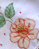 vintage handmade hanky applique flower