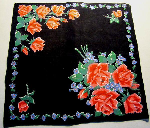 vintage black mourning floral print hanky