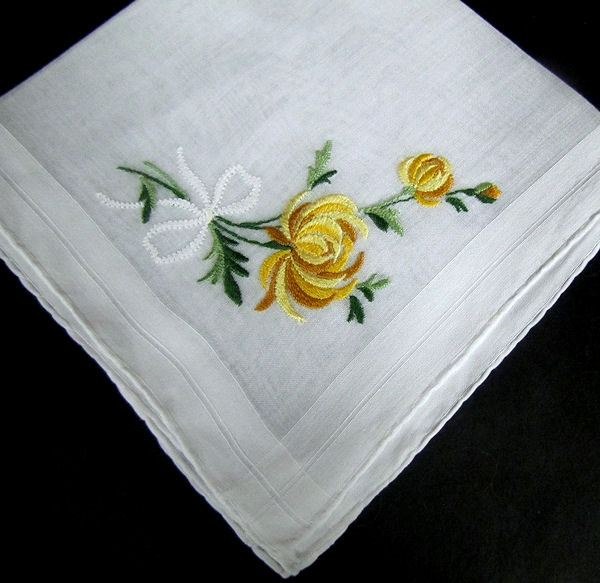 vintage hanky with embroidered yellow chrysanthemums