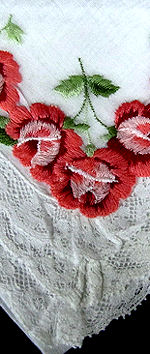 vintage hanky with red roses and French lace