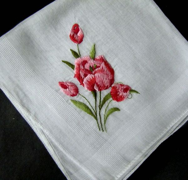 vintage hanky with embroidered red tulips