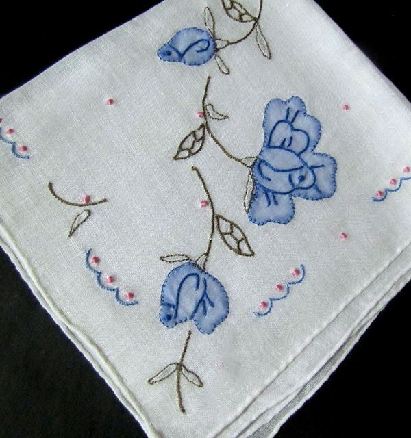 vintage hanky handmade applique and embroidery blue roses