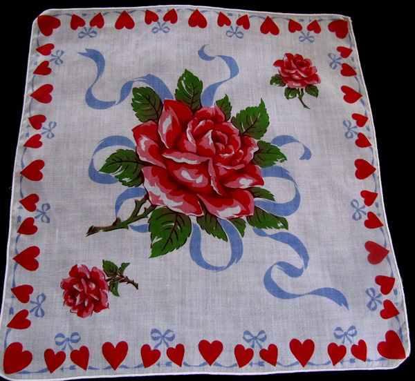 vintage valentine hearts hanky