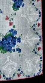 vintage floral print hanky violets and ballerinas