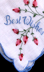 vintage embroidered best wishes hanky