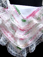 vintage irish linen hanky ruffled lace