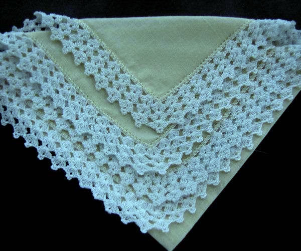 vintage yellow irish linen hanky handmade lace