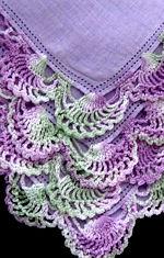 vintage Lavender irish linen hanky handmade lace
