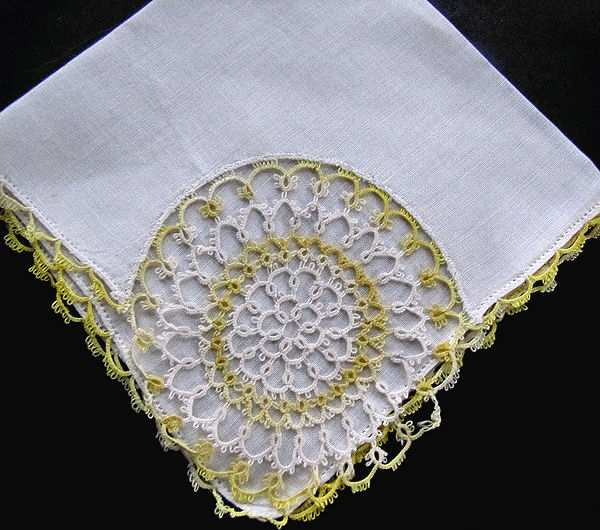 vintage irish linen hanky handmade yellow and white tatted lace