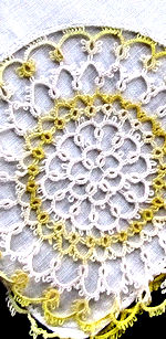 vintage irish linen hanky yellow and white tattd lace