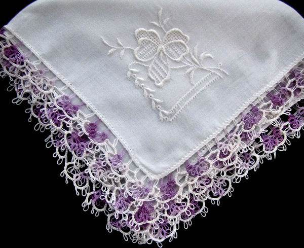 vintage irish linen hanky purple tatted lace and whitework