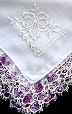 vintage irish linen hanky handmade purple tatted lace whitework
