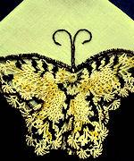 vintage yellow irish linen hanky handmade figural lace butterfly