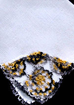 vintage irish linen hanky handmade tatted lace