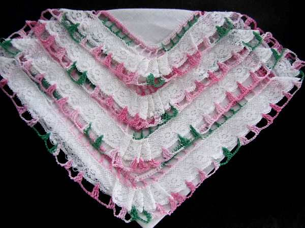vintage irish linen hanky French and handmade lace