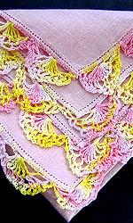 vintage pink irish linen hanky handmade lace