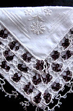 vintage irish linen hanky whitework and purple and white handmade lace