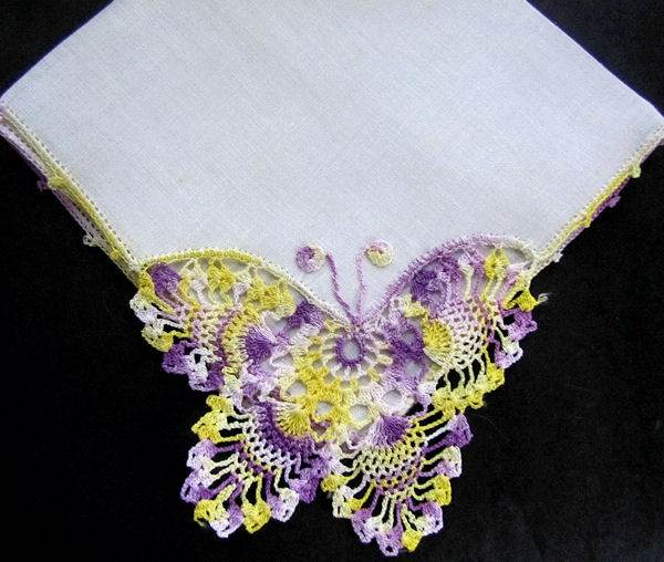 vintage irish linen hanky with handmade figural lace, butterfly