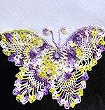 vintage irish linen hanky handmade figural lace butterfly
