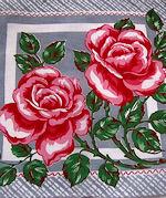 vintage floral print hanky big red roses