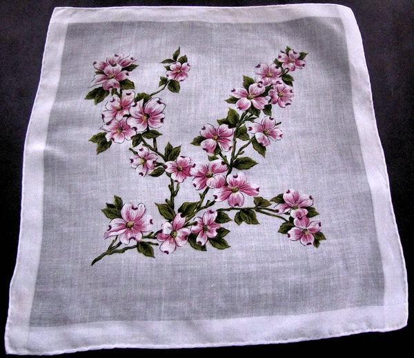 vintage floral print hanky pink flowering dogwood