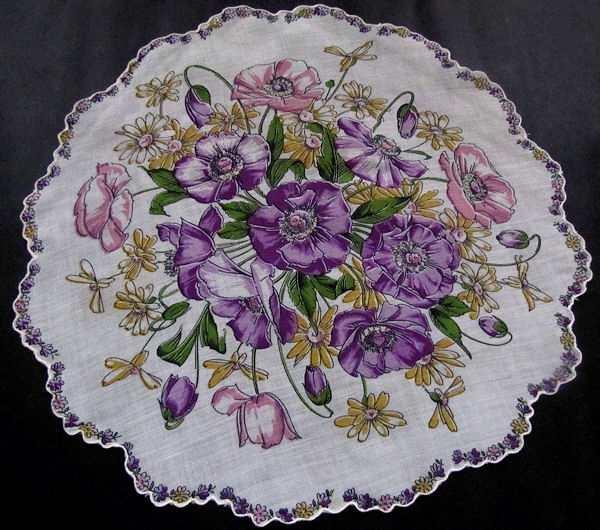 vintage round floral print hanky purple flowers