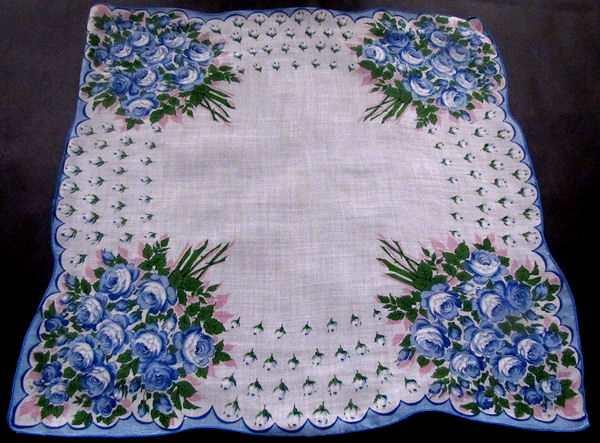 vintage floral print hanky blue roses
