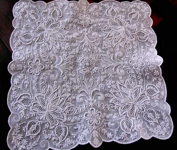 vintage antique whitework hanky Madeira embroidery