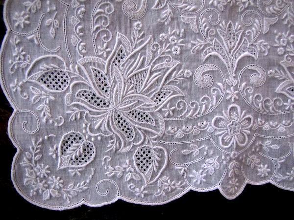 close up vintage antique whitework hanky Madeira embroidery