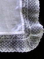 vintage antique wedding brides hanky ruffled French lace