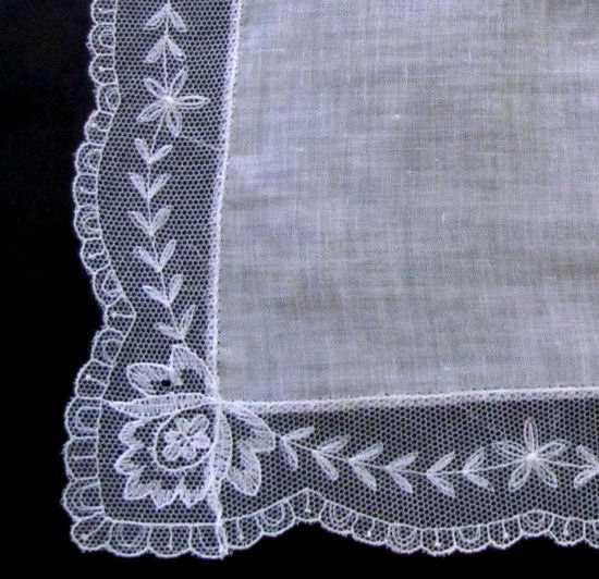 close up vintage antique wedding brides hanky Limerick lace