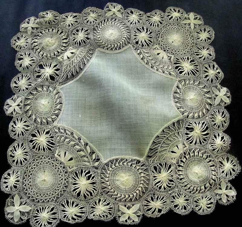 vintage antique wedding hanky with handmade Tenerife lace