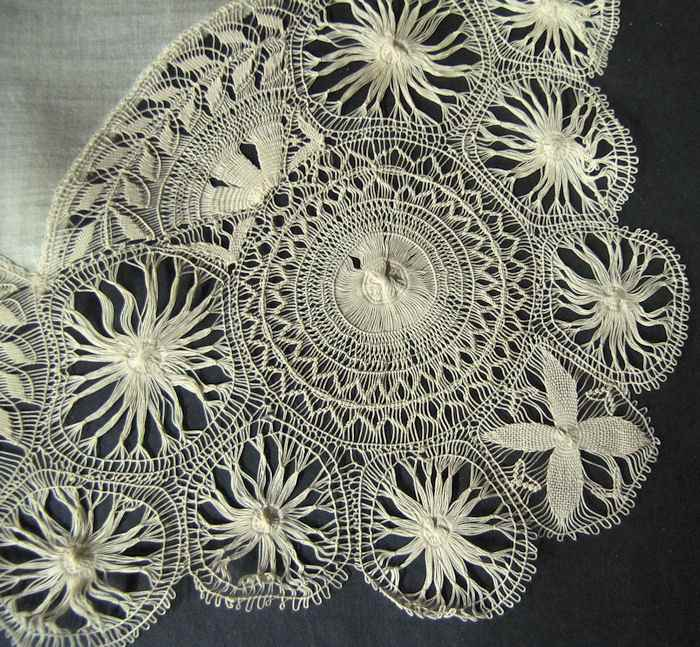 close up vintage antique wedding hanky with handmade Tenerife lace