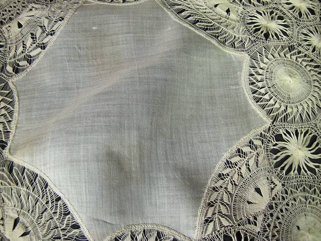 close up 3 vintage antique wedding hanky with handmade Tenerife lace