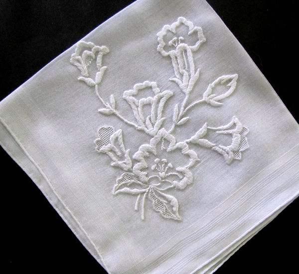 vintage whitework hanky lilies