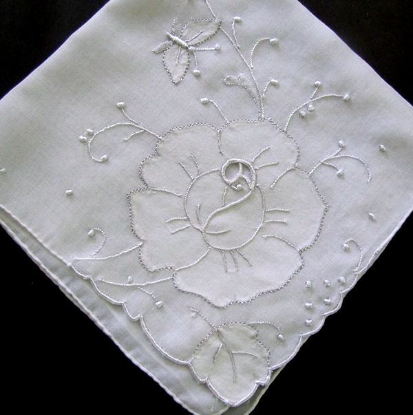 vintage handmade whitework hanky lace embroidery applique rose and butterfly