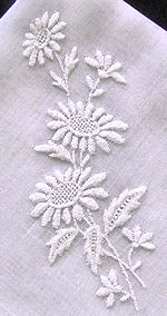 vintage whitework hanky with daisies