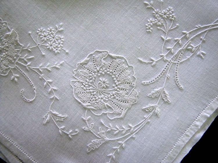 close up vintage Ayrshire whitework handmade hanky