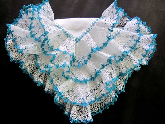 vintage irish linen hanky white and handmade ruffled lace