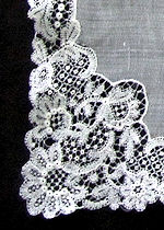 vintage antique wedding brides hanky Schiffli lace